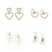 1- cross-border earrings wholesale fashion drill temperament heart-shaped twist Earrings geometric Moon