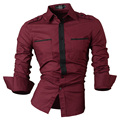 New  men's badges long-sleeved shirt Slim casual shirt