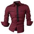 Novos emblemas longa-camisa de manga comprida camisa Magro ocasional dos homens
