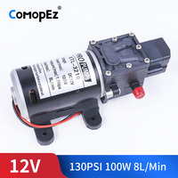 DC 12V 24V 100W 130PSI 8L/Min Water High Pressure Diaphragm Water Pump Self Priming Pump Automatic Switch For Garden Wagon