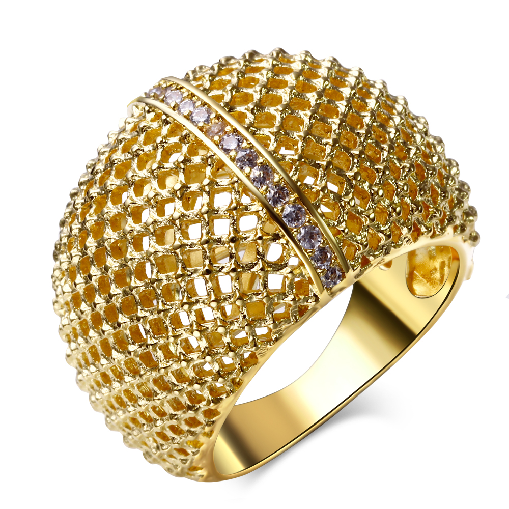 new fashion rings gold rhodium plated with white