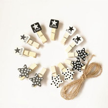 10X creative Black and white stars stationery photo clips wooden clip Craft DIY Clips with Hemp Rope Office Binding Supplies