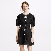 HDY Haoduoyi Women Puff Sleeve Mini Dress Summer Simple Exag