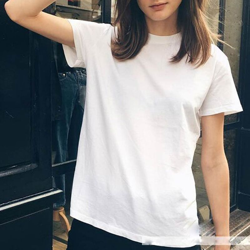 5 Colors Women Girl Summer Basic T-Shirt Roll Up Short Sleeve Plain Solid Color Pullover Tops Polyester Regular Fit S-2XL