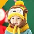 2017 crianças bomber chapéus macaco bonito do bebê beanie chapéu de inverno com capuz cachecol neck warmer knit neve cap abas de orelha meninas gorros berretti