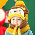2017 kids bomber hats cute monkey baby winter beanie hat hooded scarf neck warmer knit snow cap ear flaps girls gorros berretti