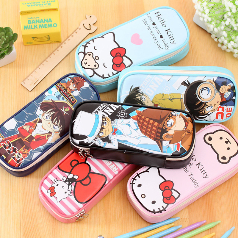 Japanese Anime Cute Conan Large Capacity Multifunctional Pencil Case Big PU Leather Pen Bag Box For Boys Girls School Stationery