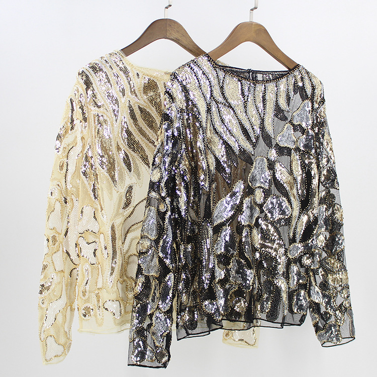 b76e39a4722ff Vintage Women Party Blouse Tunic Sexy Boat Neck Long Sleeve Beaded Sequin  Lace Mesh Shirt Top Leaf Pattern Embroidered Shirt