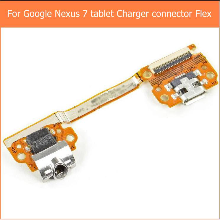 100% Genuine Usb Charger Port Connector For Google Nexus 7 Charging Port + Audio Headphone Jack + Flex Cable Replacement Parts