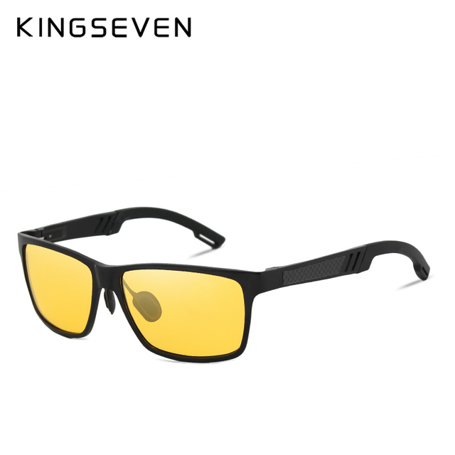 KINGSEVEN Aluminum Polarized Night vision Sunglasses Men Square Sun Glasses Driving Sunglasses Goggle Eyewear oculos de sol  1