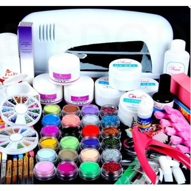 Nail Art Salon Supplies Kit Tool With White Uv Lamp Uv Gel Nail