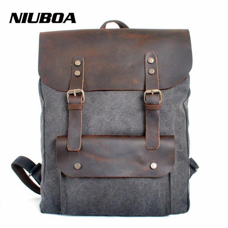 NIUBOA Genuine Leather Canvas Backpack Men Military Backpack Boy Girl Vintage Thick Canvas School Backpack Shoulder