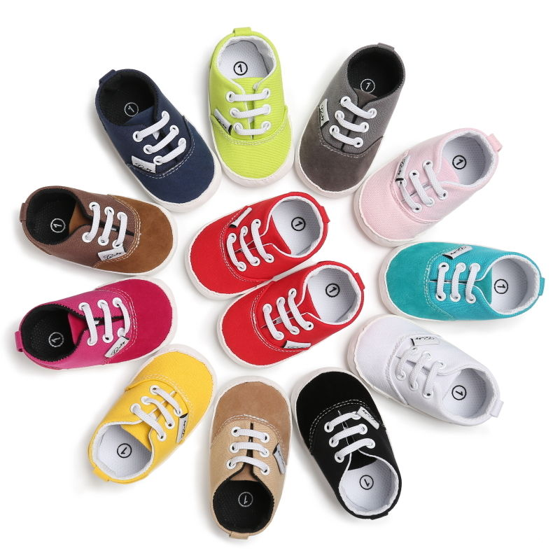 0-18M Newborn Baby Kids Children Boy Girl Candy Color Breathable Anti Skid Lace Up Shoes Casual Infant Shoes