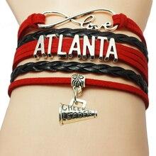 Drop Shipping Braided Leather Infinity Love CHEER LEADER Bracelet Atlanta Sports Team Cheer Leader Bracelets