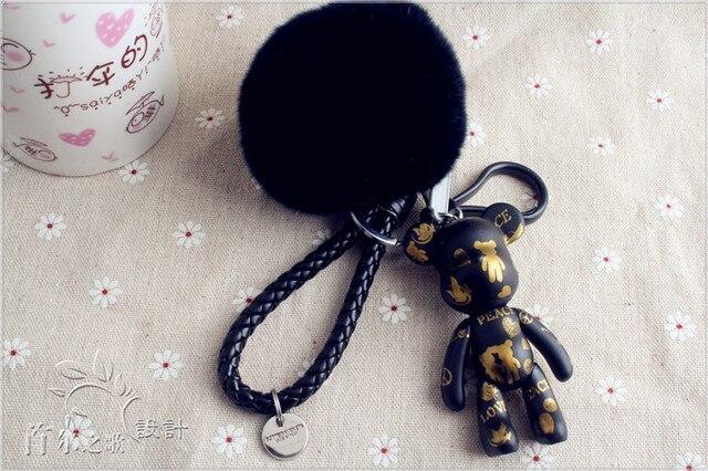 Cute Black Teddy Bear Black Fur Pompoms Key chains Unique Keyring Fluffy lanyards Leather Rope Key chains