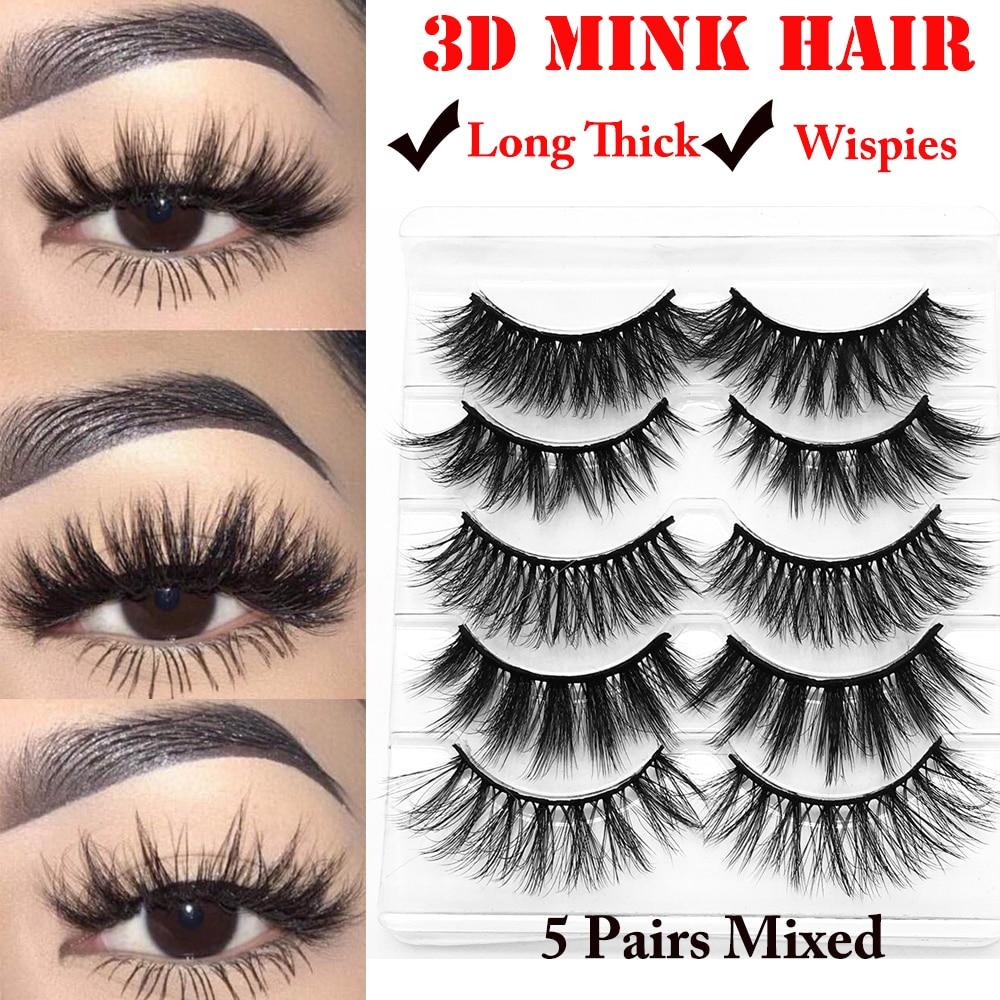 3D 5 Pairs Eyelashes Fashion Soft Natural Long Cross Fake Eye Lashes Handmade Thick False Lashes Extension Mekup Tools 2019 New