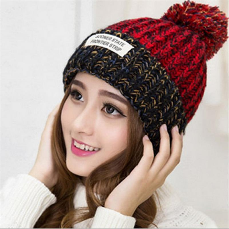 цена The lowest price free shipping promotion new female winter wool hat label affixed Bucharest thick warm blending Sphere knit hat