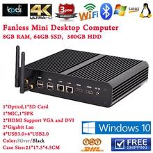Безвентиляторный Мини PC Компьютер Windows 8 В Интернет-Кафе 2 HDMI 4 К Blue Ray HTPC PC Core i7 5500u 8 Г RAM 64 Г SSD 500 Г HDD Бесплатный доставка