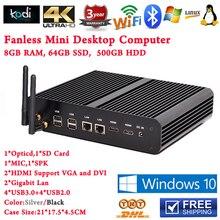 Fanless Mini PC Computer Windows 8 In Cybercafe 2HDMI 4K Blue Ray HTPC PC Core i7 5500u 8G RAM 64G SSD 500G HDD Free Shipping