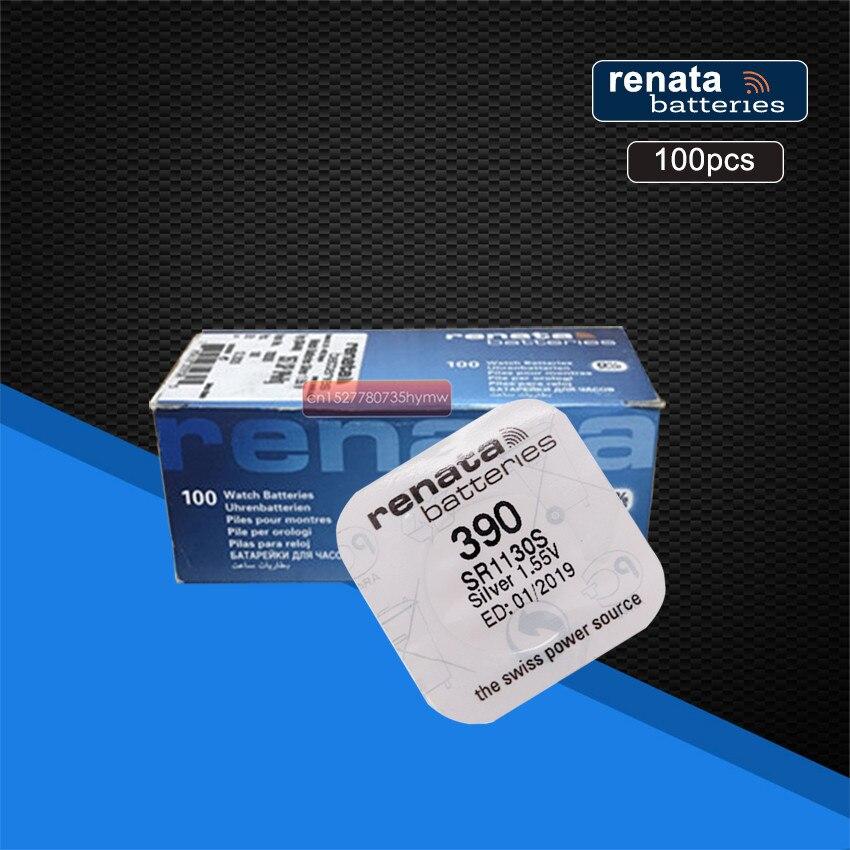 100 шт./упаковка, перезаряжаемые элементы питания из оксида серебра 390 SR1130SW 1130 1,55 в 100% оригинальный бренд Renata 390 renata 1130