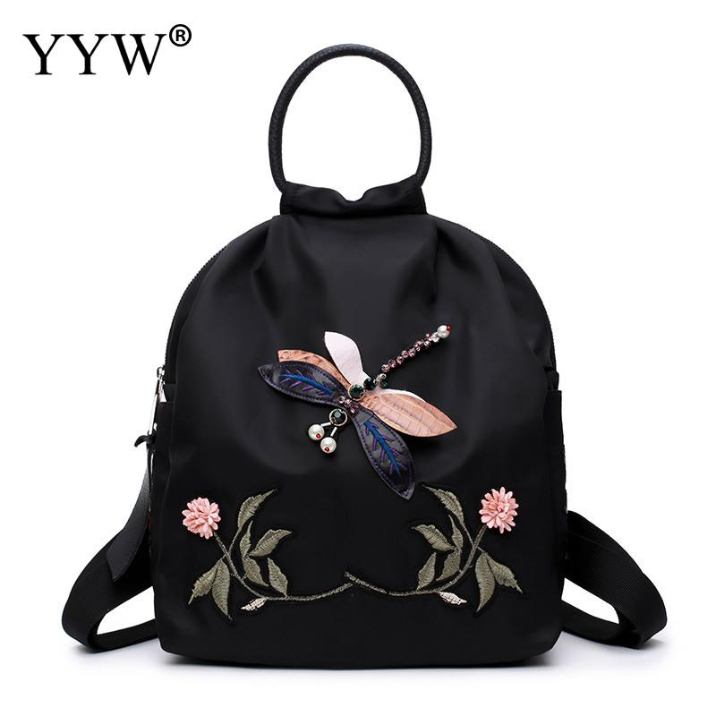 Women Backpacks Floral Dragonfly Embroidery School-Bags Rucksack Small For Girls Flowers