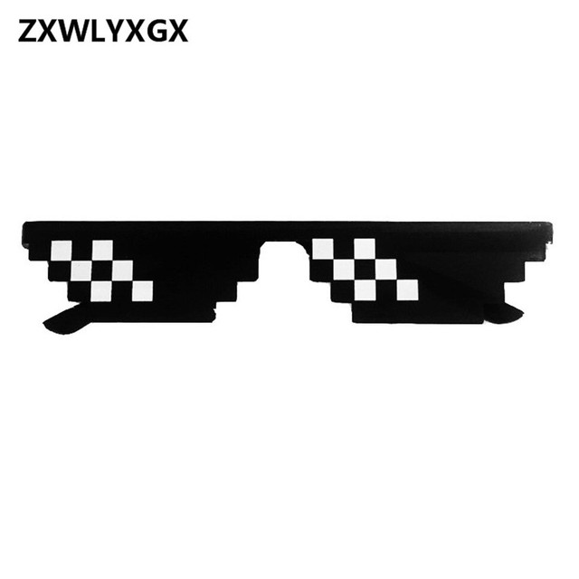 ZXWLYXGX 8 Bit MLG Pixelated Men's Sunglasses Thug Life Party Eyeglasses Mosaic Vintage Eyewear