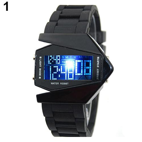 Cool Men's Oversized Design Light Digital Sports Plan Shaped Dial Electronics Wrist Watch Relojes 9