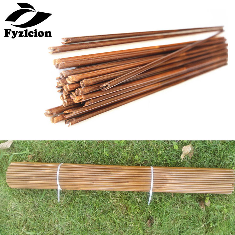 12Pcs 80cm Bamboo Arrows Shaft Bamboo Arrow Bolts Hunting Archery Diameter 8mm Spine 20-70lbs Hunting Longbow