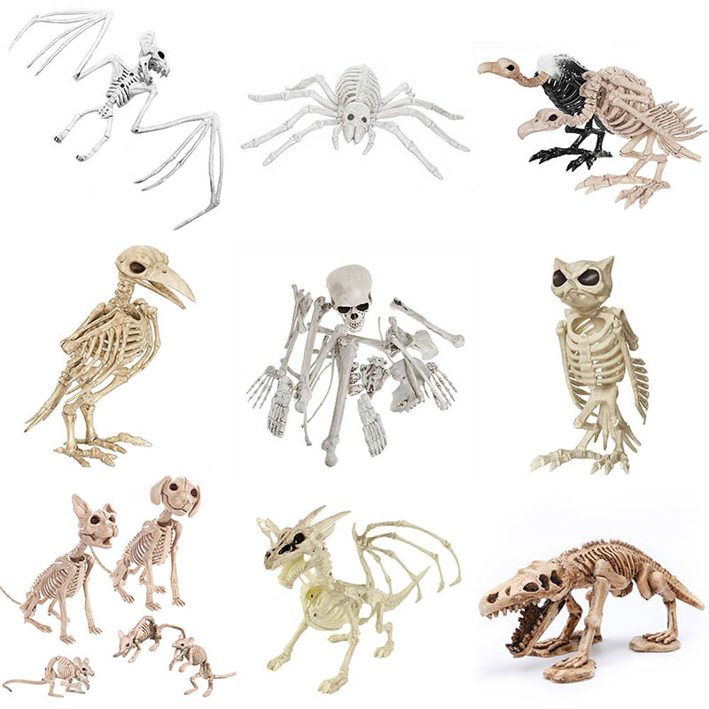 Halloween Decoration Bone Props Animals Skeleton Ornaments Bat Spider Dragon Bird Bones Hallowmas Horror House Party Decoration (99)