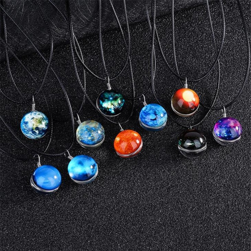 Time Gem Double Sided Glass Ball Pendant Solar System Necklace For Women Kids Nebula Galaxy Planet Universe Necklace Jewelry image