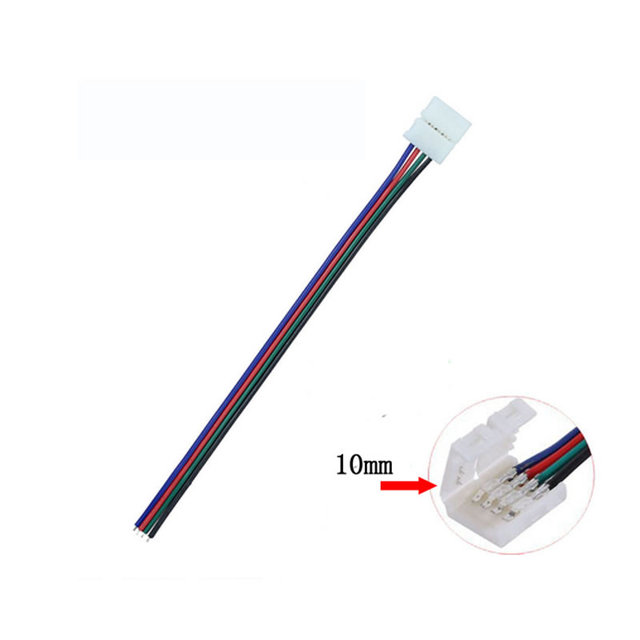 10PC 10mm 4Pin Clamp LED Strip Connector with 15cm Cable Wire for RGB STRIP SMD 5050