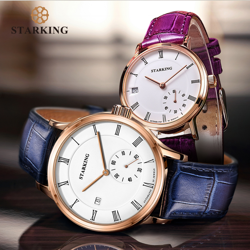STARKING Couple Watches 28800 Beats Movt Self-wind Mechanical Watch Auto Date Watches Sapphire Crystal Wristwatches Lover Gifts