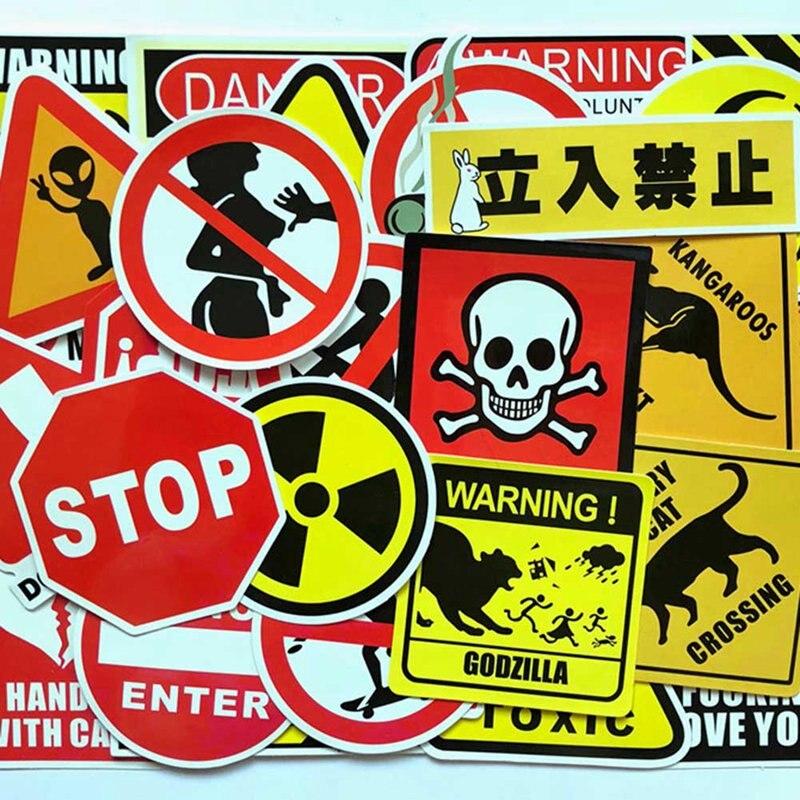 50 Pcs/set Signs Stickers Danger Warning Banning Reminder Decor Sticker For Laptop Suitcase Fridge Notebook
