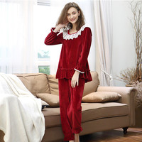 New Arrival Women Super Soft Flannel Pajamas Set Womens Winter Sweet Princess Sleepwear Pijamas Vestidos 8A237