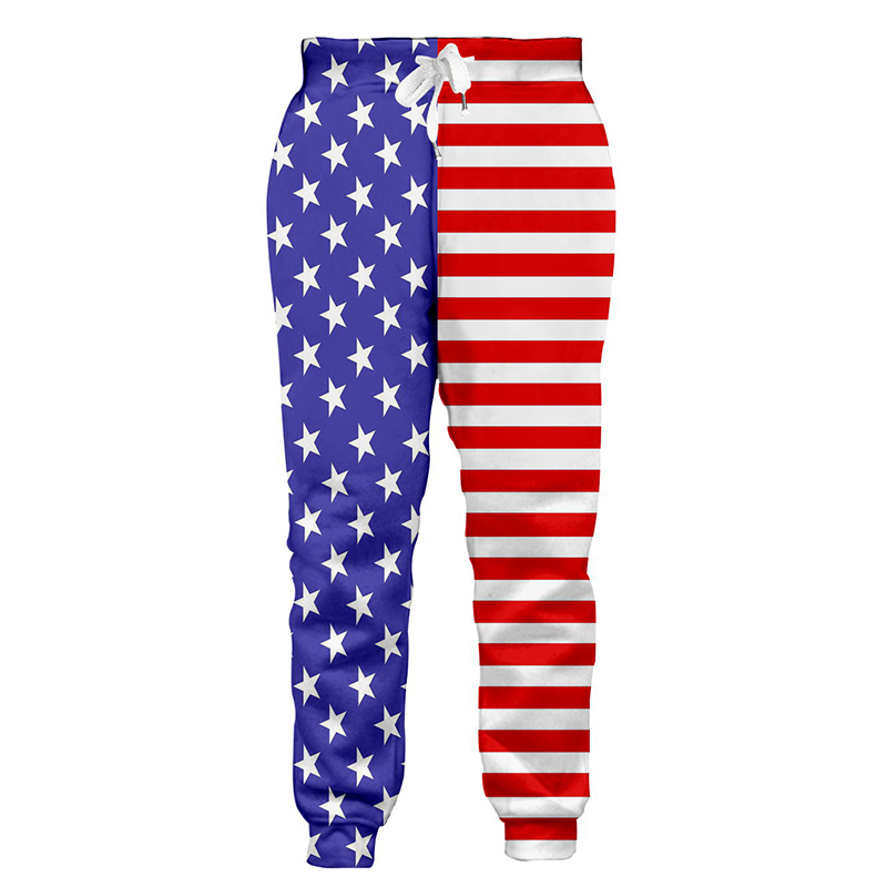 America Flag Pattern Mens Harem Pants Elastic Waist Casual Pants Male Sweatpants High Quality Pants Fashion Trousers