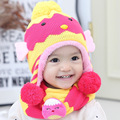Winter Baby Hat & Scarf Cute Crochet Knitted Caps for Infant Boys Girls Children Skullies Beanies Kids Thick Velvet Neck Warmer