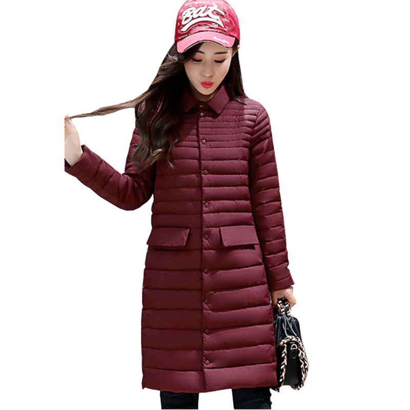 2018 New   Down   Jacket Female Fashion casual Overcoat Ultralight Winter   Down     Coat   Women Solid Slim Long Warm Parka YM979