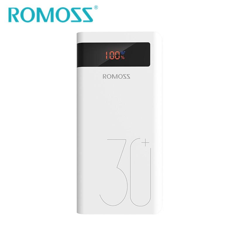 18W QC3.0 Sense8P + Banco de Potência ROMOSS 30000mAh Bateria Externa processo de Backup de Energia Suporte Tipo c-Dois- modo de Carga Rápida com Display LED