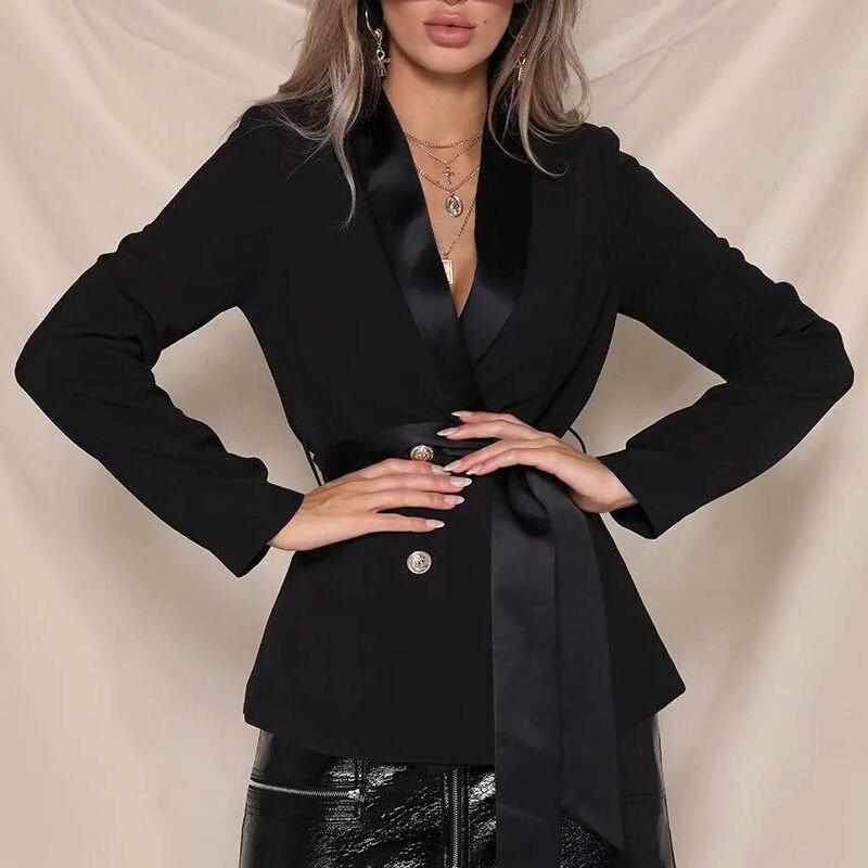 Autumn Blazer Women Office Lady Blazer Sashes Long Sleeve Jackets Double Breasted Elegant Work Blazers Feminino