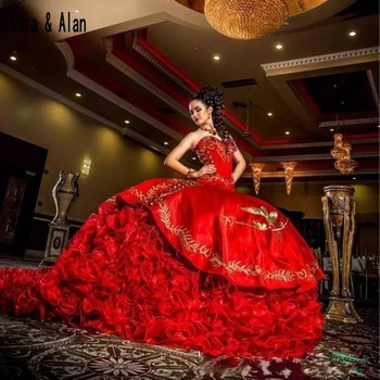Red Embroidery Masquerade Gowns Ball Gown vestidos de 15 anos Quinceanera Dresses Sweet 16 Dress Pageant Dress 2019