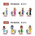 Mini Princesa 8 Unids/lote Rapunzel Ariel Cinderella Blancanieves Belle Aurora Jazmín Merida figuras Niños Juguete Ladrillo lepin Compatible