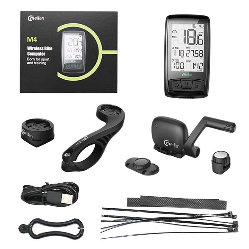 Velocímetro inalámbrico de bicicleta Meilan M4 y S1 luces traseras tacómetro Monitor de ritmo cardíaco Sensor de velocidad de cadencia cronómetro impermeable - 6