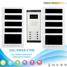 7 Inch Color LCD Wired Video Door Phone Intercom with Night Vision and Rainproof Design,Hands-free DoorBell 1 Camera 10 Monitor