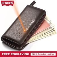KAVIS Free Engraving Genuine Leather Long Wallet Men Coin Purse Male Clutch Walet Portomonee Handy Fashion