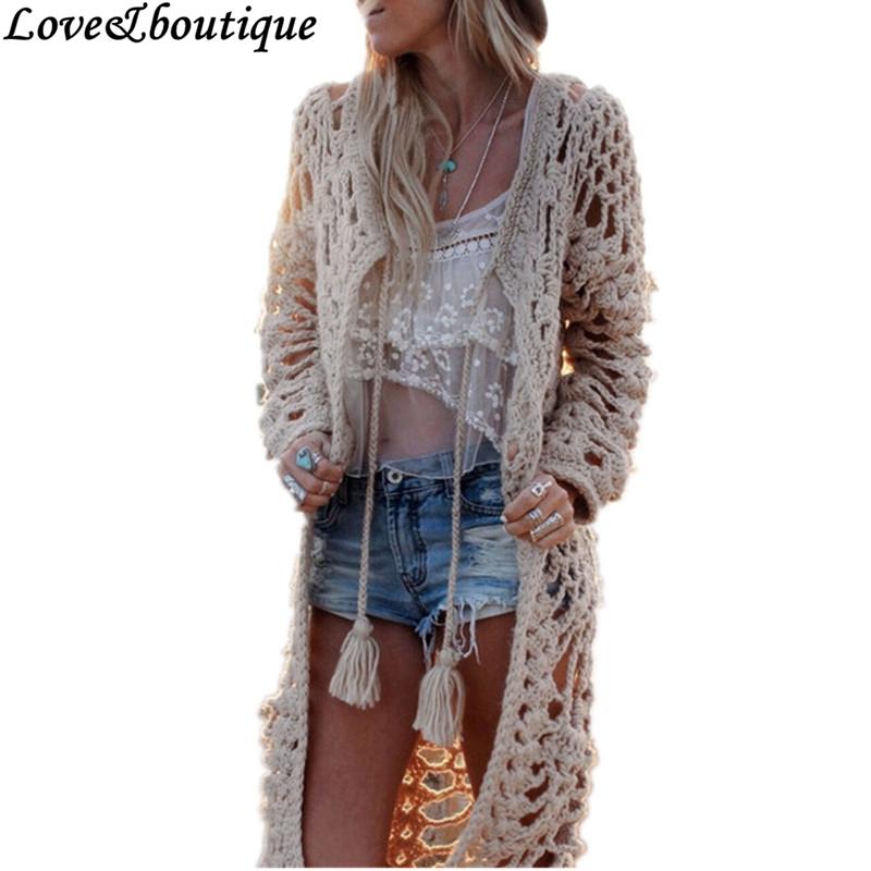 Fall New Women Bohemian Style Crochet Hollow out Tassel Long ...