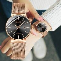 GIMTO Brand Rose Gold Quartz Women Watches Luxury Steel Clock Bracelet Ladies Calendar Wrist Watches Female Sport Relogio Reloj