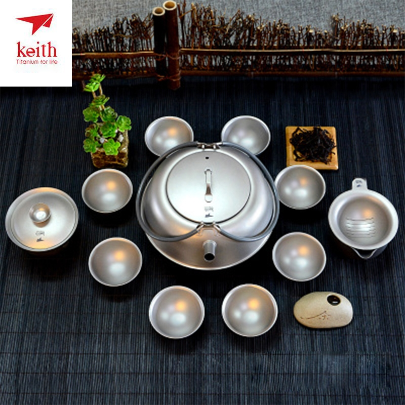 12pcs/set Keith Pure Titanium Kongfu Tea Set Coffee Cup with Tea Filter Water Kettle 8 Home Drinking Wine Beer Cups Ti3930