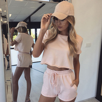 American Youth Style Summer Women Two Piece Sets Loose Youth Vigor Sport Suits Top O Neck