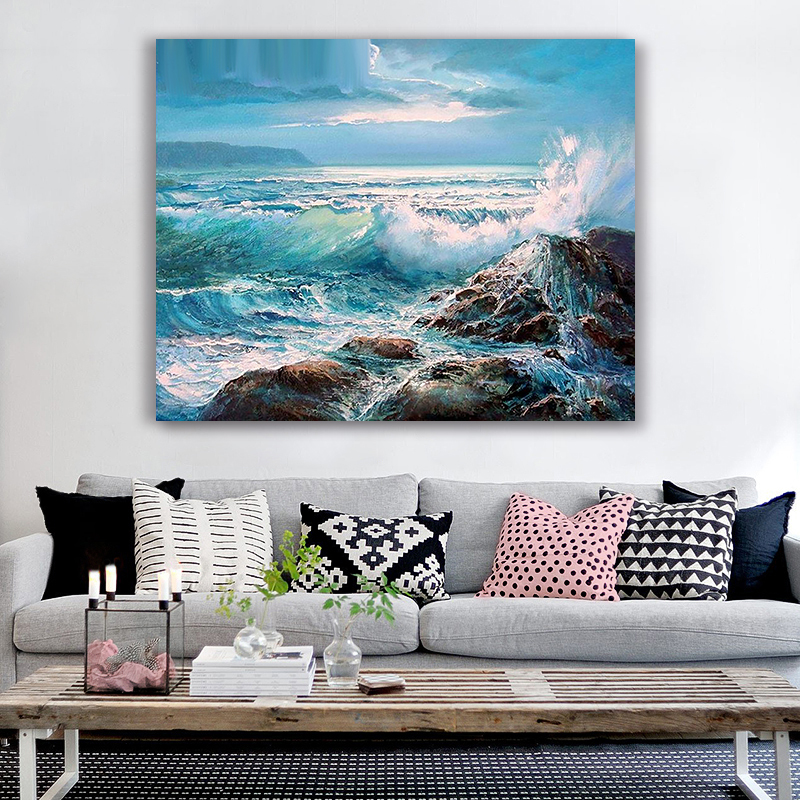 Painting By Numbers Art Paint By Number Diy  Landscape Seascape Painting   Hand-filled Color Decoration Painting Oil Paintin