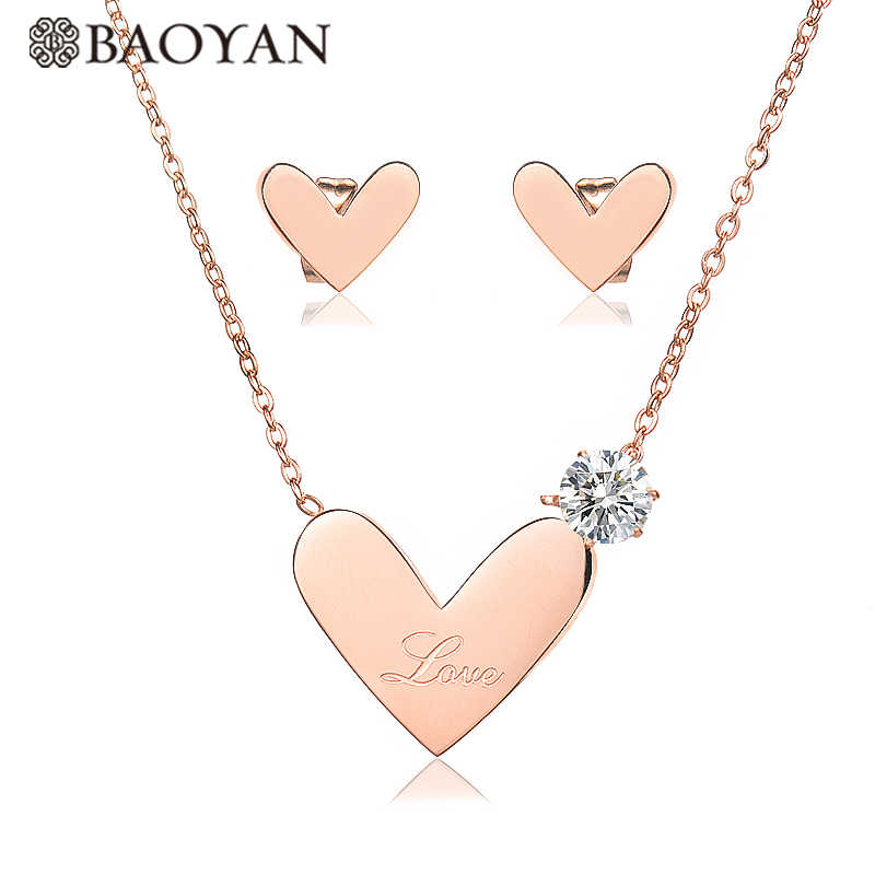 BAOYAN Cubic Zircon Wedding Bridal Jewelry Sets Gold/Silver/Rose Gold Plating Stainless Steel Love Heart Jewelry Sets for Women